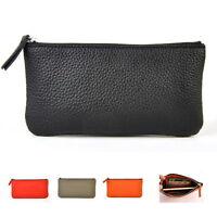 Women Genuine Leather Checkbook Wallet Men Zip Coin Bag Cellphone Purse Elegant