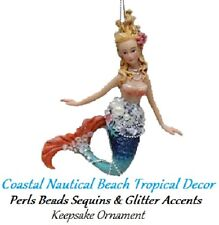 Princess Mermaid Coastal Nautical Beach Tropical Decor  Keepsake Xmas Ornament