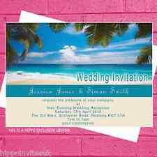 Blue Beach Scene de boda de playa Noche día recepción Invitaciones X12 + Envs
