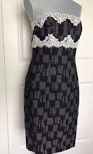 NWT $348 Worth New York NY black white lace dress Sheath Size 10 Strapless NEW