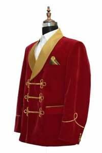 Mens Red Velvet Smoking Jacket Evening Party Wear Blazer Designer Dinner Coat