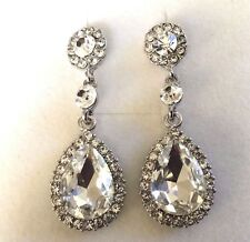 d Large white CZ diamante + crystal pear drop white gold pltd earrings GIFTBOXED