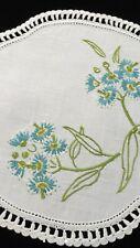 AUSTRALIAN BLUE Flowering Gum Branch Vintage Hand Embroidered Doily