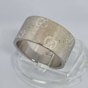 18ct White Gold Gucci Band Icon Ring 8.8mm Size 11 Fully Hallmarked