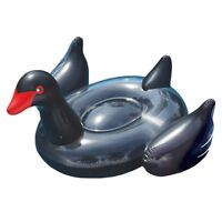 Swimline 90628 Giant Inflatable Ride On 75 Inch Opaque Black Swan Pool Float