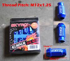 20 Pcs Blue Aluminum Tuner Lug Nut Nuts Kit Set M12x1.25 25mm Dia 50mm Long