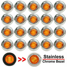 "20X 3/4"" Round Amber LED Side Marker Light With Stailness Base for Truck Trailer"