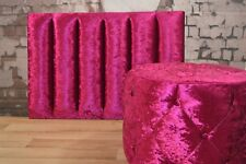 Fushia Pink Crushed Velvet Single Headboard & Matching Dressing Table Stool set