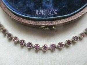 ANTIQUE Edwardian Art Deco Amethyst Paste Collet Set Vintage Bracelet Gift