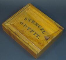 "Antique VTG circa 1922 STENCIL OUTFIT Wood Dovetail Slide Top Box 8"" x 6"" x 2"""