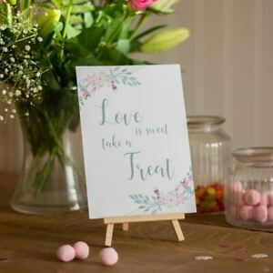 Geo Floral Love is Sweet card and Easel Wedding Candy Sweet Bar Sign