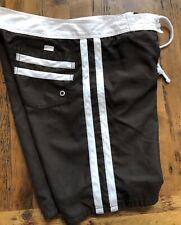 Old Navy Mens Medium Fully Lined Board Shorts Swim Trunks Dark Brown & White