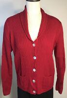 LL Bean womens sweater cardigan fine 100% Merino wool red rib knit size XL
