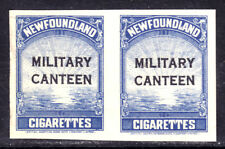 NEWFOUNDLAND REVENUE #TB50 MILITARY CANTEEN IMPERF PAIR TAX EXEMPT LABELS