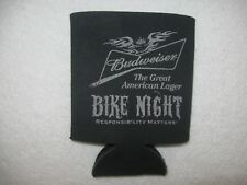Black Bike Night Budweiser Beer Can Bottle Koozie Cooler