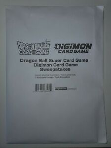 Bandai Sweepstakes Dragonball Super gold stamp and Digimon Card Promo 0.0 Packs