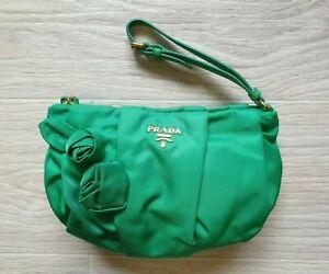 Authentic Prada Tessuto Nylon Wristlet Clutch Bag Green Small Purse Flowers