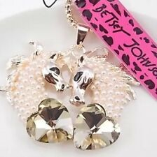 Betsey Johnson Necklace Horse Gold Pearl Double Horse Head Heart Crystals
