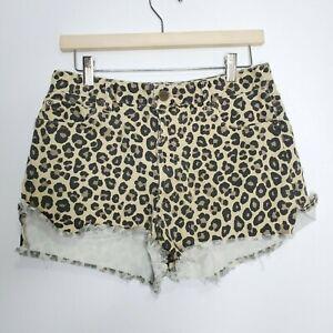 Amuse Society Size 30 Cheetah Print High Rise Shorts Raw Hem Button Close Tan