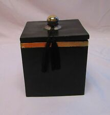 Moroccan Spice Jar Canister in Painted Terracotta & Metal Decor Black