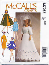 "MCCALLS SEWING PATTERN 7267 BARBIE 11½"" FASHION DOLL VINTAGE/RETRO STYLE CLOTHES"