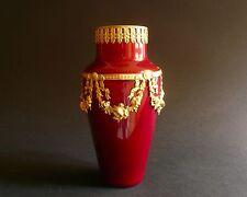"Beautiful Paul Milet Sevres Louis 16 Flambe Red de Chine Vase Ormolu 19105 1/4"""
