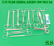 72 PC FELINE GENERAL SURGERY SPAY PACK VETERINARY SURGICAL INSTRUMENTS DS-1039