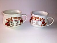 2 Vintage Mushroom Recipe Soup Mugs Bowls Cups Great Condition