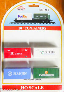 Model Power HO #7851 (K-Line, Hanjin, Evergreen, Schenker) Containers 20' Opr.Dr