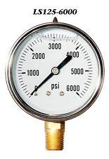 New Hydraulic Liquid Filled Pressure Gauge 0 6000 Psi 25 Face 14 Lm