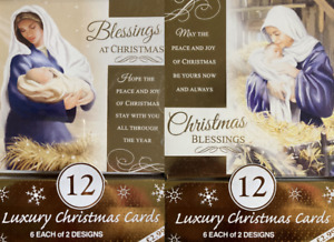 Religious Christmas Cards Jesus 12 Pack Luxury Traditional cards with 2 Design