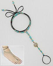 FABULOUS Beauty Turquoise & Brass Emblem Wrap Anklet Free Spirit Summer Beauty!