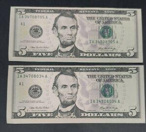 (2) ERROR $5 FIVE DOLLAR BILL, FEDERAL RESERVE NOTE, MISCUT, MISALIGNED