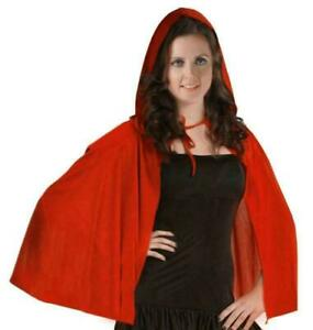 Woman Unisex Adult Red Ridding Hooded Velvet Cape Cloak Halloween Outfit UK