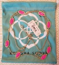 NWT Kendra Scott KELSIE Gold Plated MAGENTA PINK Station Necklace $95
