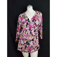 EUC Coldwater Creek Size 1X Floral Print Top Pink Black