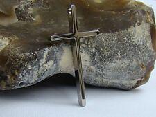 Linea Uomo Donna in Acciaio Inox Argento Ciondolo Croce Religioso Preghiera 52x28x4.8mm