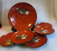 Vintage JAPANESE RED Black Lacquer Set Foo Lion Dog Pattern Master bowl w 5 Dish