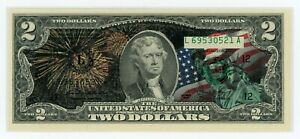 Colorized 2 Dollar Federal Reserve Note - Happy Fourth of July! - Brand New Bill