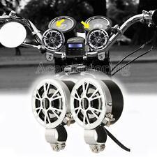 2X Waterproof Mini Amplified Motorcycle Speakers Mp3 Player FM Radio Speaker New