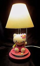 """HELLO KITTY TABLE LAMP - KT3095 - Features """"Kitty"""" in a Pink Dress with a Flower"""