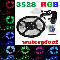 5M RGB Waterproof LED Strip Light 3528 SMD 300 LEDs 24 Key Remote 12V Full Kit