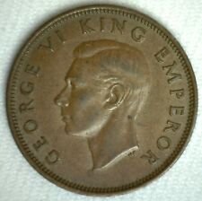 1941 New Zealand Bronze Half Penny Coin Extra Fine Circulated 1/2 Cent Coin
