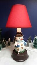 "SNOWMAN CANDLESTICK STYLE HOLIDAY LAMP WITH RED SHADE, TOGGLE SWITCH.10.5"" TALL."