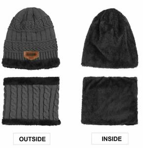 BOYS BEANIE HAT & NECK WARMER, CABLE KNIT GREY ONE SIZE