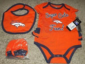 Denver Broncos NFL Baby Girl 3 - Piece Bodysuit Set Size 18 Months NWT