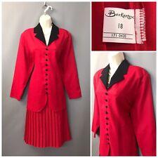 Vintage Berkertex Littlewoods Red Pleated Dress UK 18 EUR 46 Lined