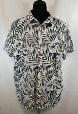 American Rag Mens 2XL Button Shirt Short Sleeve Lightweight See-Through Leaf