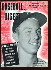 Feb 1956 Baseball Digest With Al Kaline Cover EX+