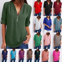 Women Top V-Neck Zipper Long Short Sleeved Loose Chiffon Blouse Lingerie T-shirt